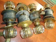 4 Antique Heavy 1lb each - Glass Brass Door Knobs reclaimed work perfect w/lock