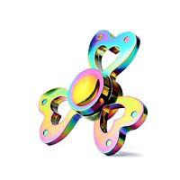 Fidget Spinner Rainbow Triple Heart Metal Hand Spinner 3D Focus ADHD EDC