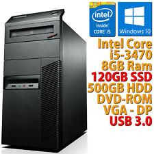PC COMPUTER DESKTOP RICONDIZIONATO M92P CORE i5-3470 8GB SSD 120GB + HDD 500GB