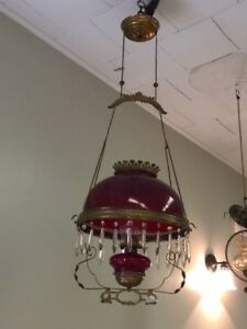 REDUCED!!!  Antique Brass and Cranberry Glass Hanging Oil Lamp Chandelier
