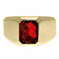 14K Solid Yellow Gold Natural Garnet Gem Stone Men's Jewelry Ring