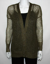 NEW Kensie SIZE MEDIUM Long Sleeve Open Tissue Knit Cardigan Sweater OLIVE MIX