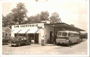 RPPC L and W Cafeteria Greyhound Bus Station, Troy AL c1955 Vintage Postcard U30