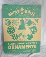 1950s Box of Shiny Brite Christmas Tree Glass Ornaments Set of 12 Painted Balls