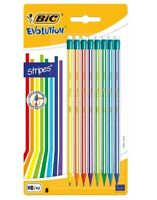 BIC Evolution Stripes With Eraser HB Graphite Pencils (8 Pack)