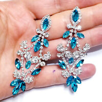 Aqua Chandelier Earrings Rhinestone Crystal Bridal Prom Pageant 3 inch Long