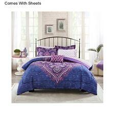 Girl's 6 Piece Purple Twin Twin XL Size Comforter Bedding Sheet Set Bedspread