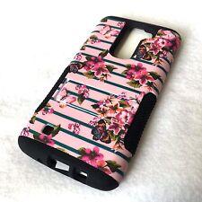 For LG K7 / Tribute 5 - Hard & Soft Hybrid High Impact Armor Case Pink Flowers