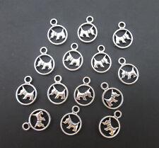 10PCS Tibetan Silver Puppy Dog Charms Pendants Jewelry Making Nice