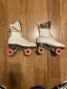 Vintage Betty Lytle HYDE White Roller Skates Size 8 Chicago VTG