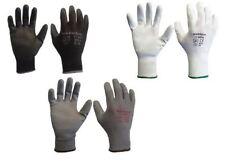 12 24 Pairs Warrior Grey Black White PU Grip Coated Safety Work Gloves Builders