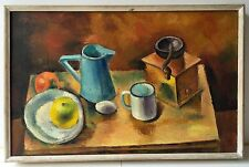 Signed Mid-Century Modern Cubist Infl Coffee Grinder Still Life Painting
