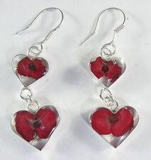 925 sterling silver double dangle heart earrings with real flowers pattern 1