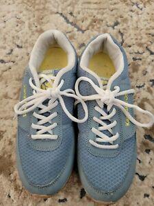 Women's KangaROOS Running Shoes Sneakers Slate Blue Yellow Size 8 ½ Zip Pockets