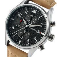 OCHSTIN Fashion Pilot Wrist Watch Quartz Date Men Genuine Leather Chronograph