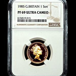 1985 Queen Elizabeth II Great Britain Gold Proof Sovereign NGC PF69 UCAM