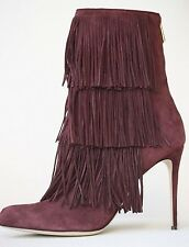 PAUL ANDREW TAOS FRINGED PLUM SUEDE ANKLE BOOTS EU 38 UK 5 US 8
