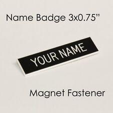 "Name Badge Tag Magnetic Black Personalised Engraved Employee Customised 3x3/4"""