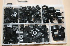 Nylon Black Plastic P Clips for Wire, Cable, Conduit. Assorted Box 200 Pieces