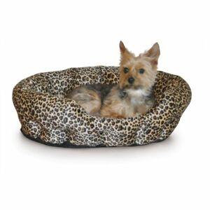 """K&H Pet Products Self Warming Nuzzle Nest Pet Bed Leopard 19"""" x 19"""" x 6"""""""
