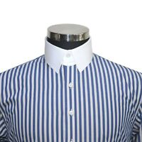 Tab collar Mens cotton shirt Navy Blue White stripes Loop James Bond collar Gent