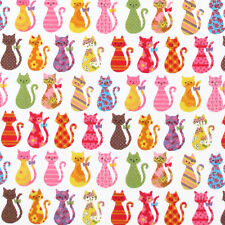 "KOKKA ""COLORFUL CATS"" White Oxford Cotton by the 1/2 yard"