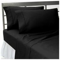 US Bedding Collection 1000 Thread Count Egyptian Cotton Black Solid All Sizes;