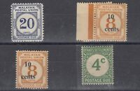 Malaya Straits Postage Due Collection Of 4 MH J8154