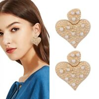 Fashion Design Women Gold Love Heart Pearl Dangle Drop Earrings Wedding Jewelry