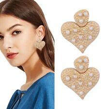 Pearl Dangle Drop Earrings Wedding Jewelry Fashion Design Women Gold Love Heart