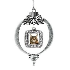 Inspired Silver Maine Coon Cat Classic Holiday Christmas Tree Ornament