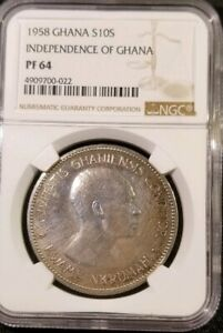 GHANA 1958 SILVER 10 SHILLINGS Coin - INDEPENDENCE OF GHANA - NGC PF-64