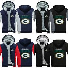 Green Bay Packers Fans Hoodie Fleece zip up Coat winter Jacket warm Sweatshirt
