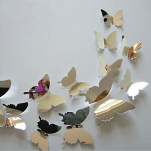 12pcs/set Mirror Sliver 3D Butterfly Wall Stickers Decor DIY Home Decorations