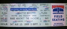 Rare 2000 Beastie Boys Rage Against The Machine Unused Ticket Foxboro Stadium