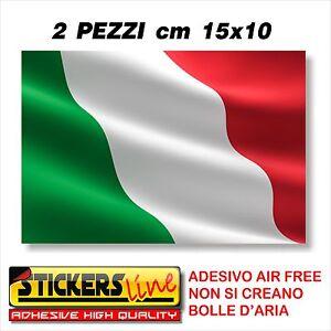 2PZ Adesivo BANDIERA ITALIANA cm15x10 adesivi bandiera italiana tricolore ITALIA