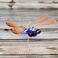 "Glass Dragonfly Figurine / Handmade Hand Blown Art Glass Dragonfly Animal 4.75"""