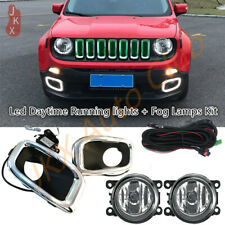 LED DRL Daytime Cover + Fog Lights + Harness k Kit For Jeep Renegade 2015-2018