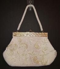 Vintage Beaded Evening Bag Bugle Beads Seed Pearls Filigree Frame Kiss SnapClasp