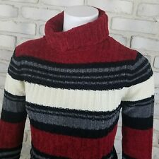 Womens Vintage Turtleneck Sweater Sze M Maroon Ivory Striped by Players Sport