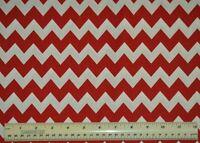 "1/2 yard cotton quilt fabric 5/8"" medium chevron red white apparel quilting"