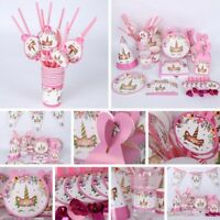 Pink Unicorn Sparkle Birthday Party Banner Supplies Tableware Decorations