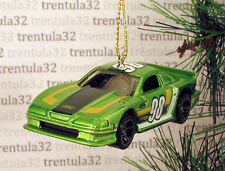FORD MUSTANG COBRA Race Car CHRISTMAS ORNAMENT Green/White/Yellow 98 racing XMAS