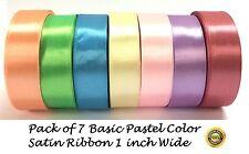 Satin Ribbon 1 inch Light 25mm Pastel Bright 24 Yards wedding party decor craft