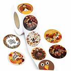 Happy Thanksgiving Stickers for Kids, 600 Pcs Self-Adhesive Stickers Roll Brown