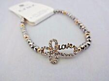 Rhinestone Cross Bracelet 7 Inch Gray Beads Love Gold-tone Stretchy Crux