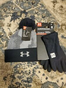 NWT Boy's Under Armour ColdGear Pom Hat and Gloves Set Black and Gray