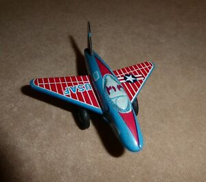 1950s Tin Friction Small USAF #0327 Jet Fighter Plane Made in Japan Nice VINTAGE