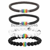 4pcs LGBT Rainbow Gay&Lesbian Pride PU Leather Magnetic Bangle Beaded Bracelet