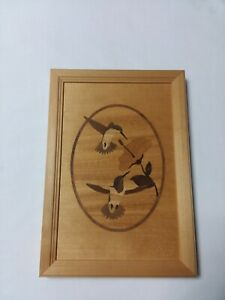 Hudson River Inlay Exotic Wood Picture By Jeffrey Nelson Hummingbird Duet